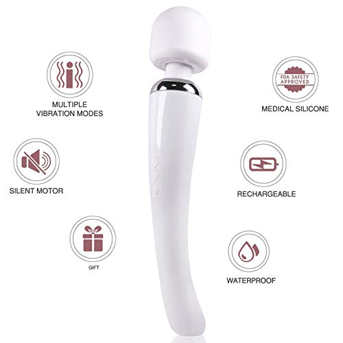 Keenigh Wand Massager Therapeutic Personal Massager with 8 Speeds 20 Vibrating Patterns USB Rechargeable Handheld Cordless Wand Massager for Muscle Aches and Sports Recovery - White