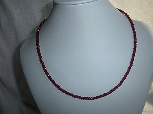 (Genuine Garnet Rondelle Beads Necklace, 18 Inches Necklace, January Birthstone Necklace, 925 Sterling Clasp)