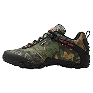 XIANG GUAN Men's Outdoor Low-Top Camouflage Water Resistant Trekking Hiking Shoes Black 10