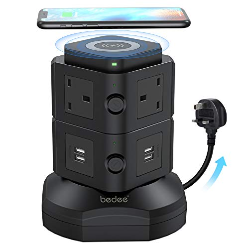 bedee Tower Extension Lead with Surge Protection, Multi Plug Power Extension Tower with 4 USB Slots, 6 Sockets & Wireless Charger, Vertical Power Strip with 2 Metre Cord & Individual Switches, Black