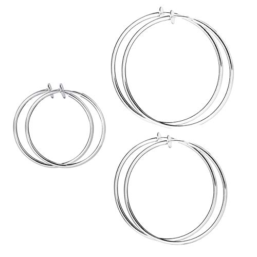 - HAISWET 20,40,60MM Stainless Steel Non Pierced Clip On Hoop Earrings 3 Pcs Jewelry Set Silver Tone