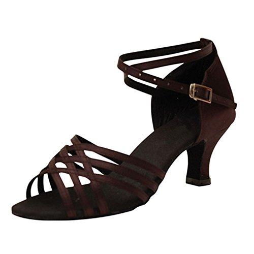 BYLE Sandalias de Cuero Tobillo Modern Jazz Samba Zapatos de Baile Zapatos de Baile Latino de Adultos de Verano Zapatos de Baile Correas Brown Onecolor