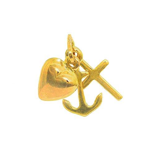 JewelStop 14k Yellow Italian Gold Puffed 3D Faith Hope Love Cross Anchor Heart Charm Pendant, 1gr. Heart Italian Cross
