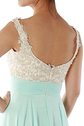 MACloth Women Straps Lace Chiffon Long Ball Gown Prom Formal Dress Wedding Party Verde Oliva