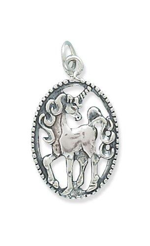 Corinna-Maria 925 Sterling Silver Oval Unicorn Pendant