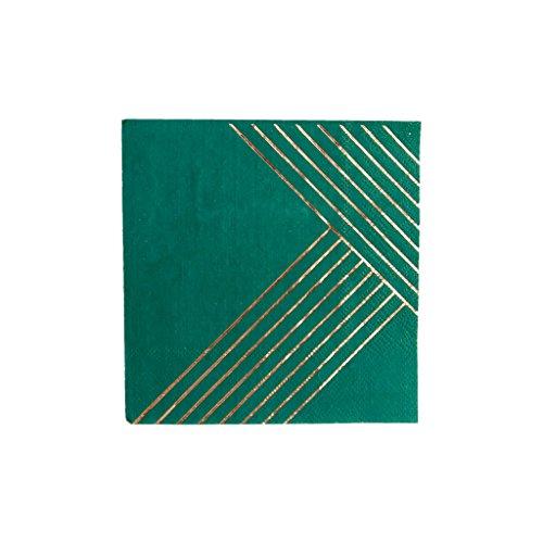 Striped Cocktail Napkin - Dark Green w Rose Gold Foil Striped Cocktail Paper Napkins - Birthday, Wedding, Showers Party Napkins - Harlow & Grey Manhattan (20 Count)