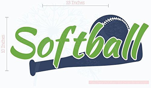 Bedroom Décor Softball with Bat Wall Decals Stickers 23x10-Inch Lime Green, Deep Blue