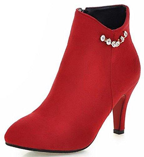 Idifu Mujeres Elegant Rhinestones High Stiletto Heels Punta Estrecha Cremallera Lateral Corto Tobillo Botas Rojo
