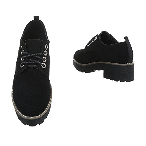 Ital-Design Women's Loafer Flats Block Heel Lace-UPS at Black 2017-6 nTJkaUB7