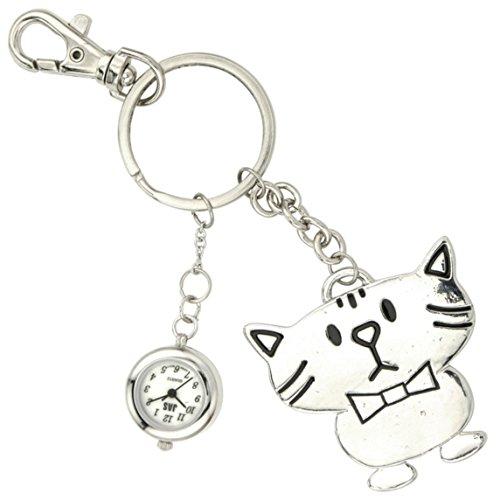 Charm Silver Chain Ladies Watch (JAS Unisex Novelty Belt Fob/Keychain Watch Cool Cat Silver Tone)