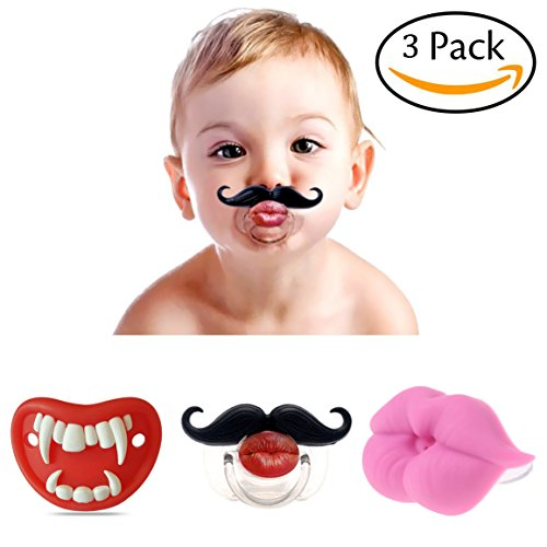 3Pcs Cute Kissable Mustache Pacifier For Babies and Toddlers Unisex BABY Lips Pacifier - BPA Free Latex Free made With Silicone Creative Personalized baby pacifiers (Pacifier Lips)