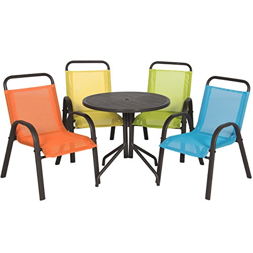 Best Choice Products Outdoor/Indoor 5 Piece Junior Kids Furniture Table And Chair Set For Dining, Playing, Learning (Outdoor Kids Chairs)