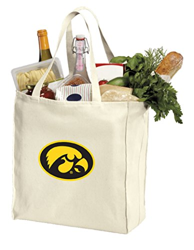 Reusable University of Iowa Grocery Bags or Iowa Hawkeyes Shopping Bags Natural Cotton ()