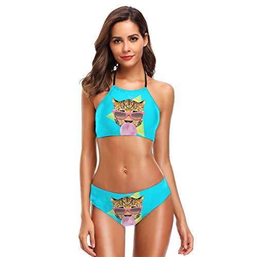 AkanaRika 90s Style Bubble Gum Leopard Women High Neck Halter Bikini Strappy Bathing SuitXL Black - Leopard Bubble Gum