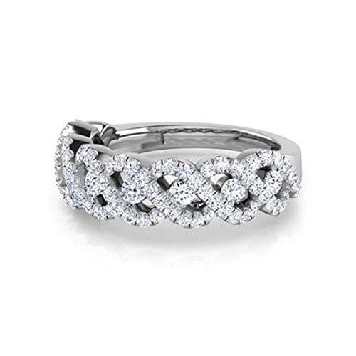 14K Or blanc, 0,82carat Diamant Taille ronde (IJ   SI) en diamant