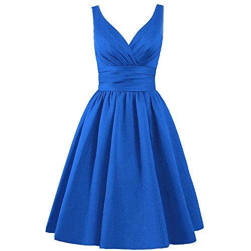 ELLAGOWNS Women's V-neck Short Bridesmaid Dresses Royal Blue US 2