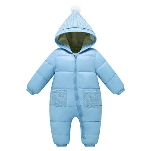 8eef25cc3c52 Uobzyaq Baby Knitted Hooded Winter Down Snowsuit One-Piece Puffer Jumpsuit  Romper Overcoat Light Blue Size 110(12-18 Months)
