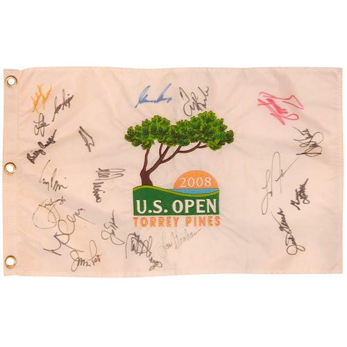 2008 US Open Torrey Pines Embroidered Golf Pin Flag Autographed Signed Auto by 16 Former Champions #1 - Certified Authentic ()