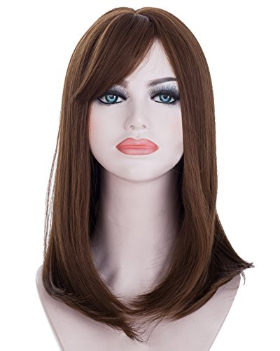 Spretty Beautiful Middle Long Dark Brown Synthetic Wig for Women's Daily (The Middle Halloween Grease Costume)