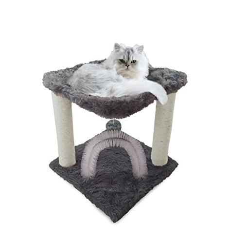 FurHaven Pet Cat Furniture | Tiger Tough Plush Cat Hammock, Silver, One Size