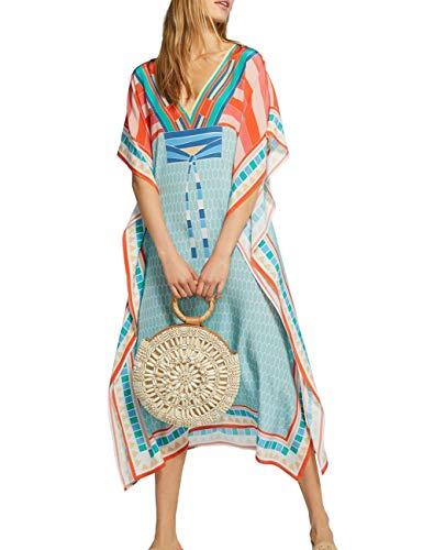 Women Long Maxi Cover Ups Swimsuit Turkish Colorblock Printed Kaftan Beach Dress (8368)