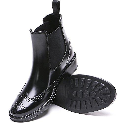 Rubber TONGPU Ankle Waterproof Fashion Rain Short Women's Black Boots IRrqXWwRx
