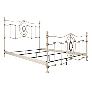 Beautiful Bedroom Four Poster Bed with Curved Lines, Metal Construction, Queen Size + Expert Guide