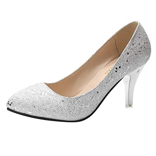 High Heel Shoes Under 20 Dollars (Aunimeifly Women's Sequin Pointed Toe Stilettos Wedding Pumps Ladies Stylish Bling Shallow High Heels Shoes)