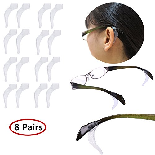 YR Anti-Slip Soft Silicone Ear Grip Hook Retainer Sleeve For Eyeglasses Sunglasses, 8 Pairs, - Kids Eyeglasses Accessories
