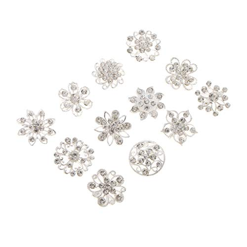 12pcs Small Size Silver Wedding Bridal Crystal Brooches Corsage Bouquet Pin (Cameo Vintage Clutch)