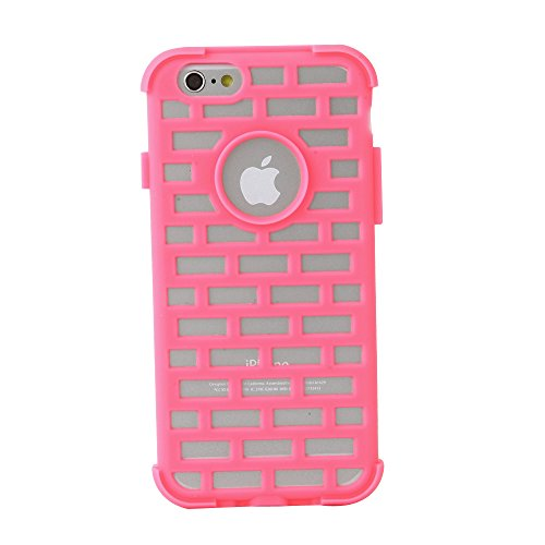Electrovic Chic and Shock Transparent PC plus luminous silicon Brick Wall Protective case for iPhone6- Neon Pink