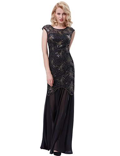 Gatsby V-Back Maxi Evening Prom Dress for Women Black Size 14