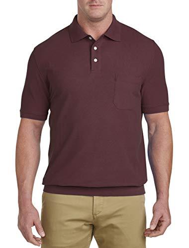 (Harbor Bay by DXL Big and Tall Pique Banded-Bottom Shirt, Zinfandel 3XLT)