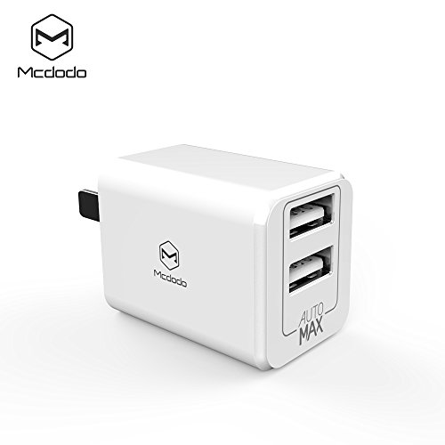 MCDODO Mini USB Wall Charger Ultra Compact Dual Port 2.4A Output & Foldable Adapter Plug Compatible iPhone iPad Samsung Galaxy, HTC Nexus Moto, Bluetooth Speaker, Powerbank (Wall Charger White)