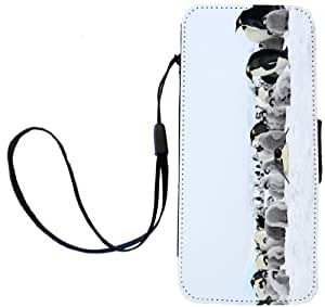 Rikki KnightTM Emperor Penguins in Snow Design iPhone Apple 5c PU Leather Wallet Type Flip Case with Magnetic Flap and Wristlet for Apple iPhone 5c