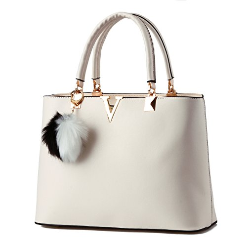 Pahajim 2017 Women bag V Letters handbags Women Leather tote bag fashion handbags for women (white)