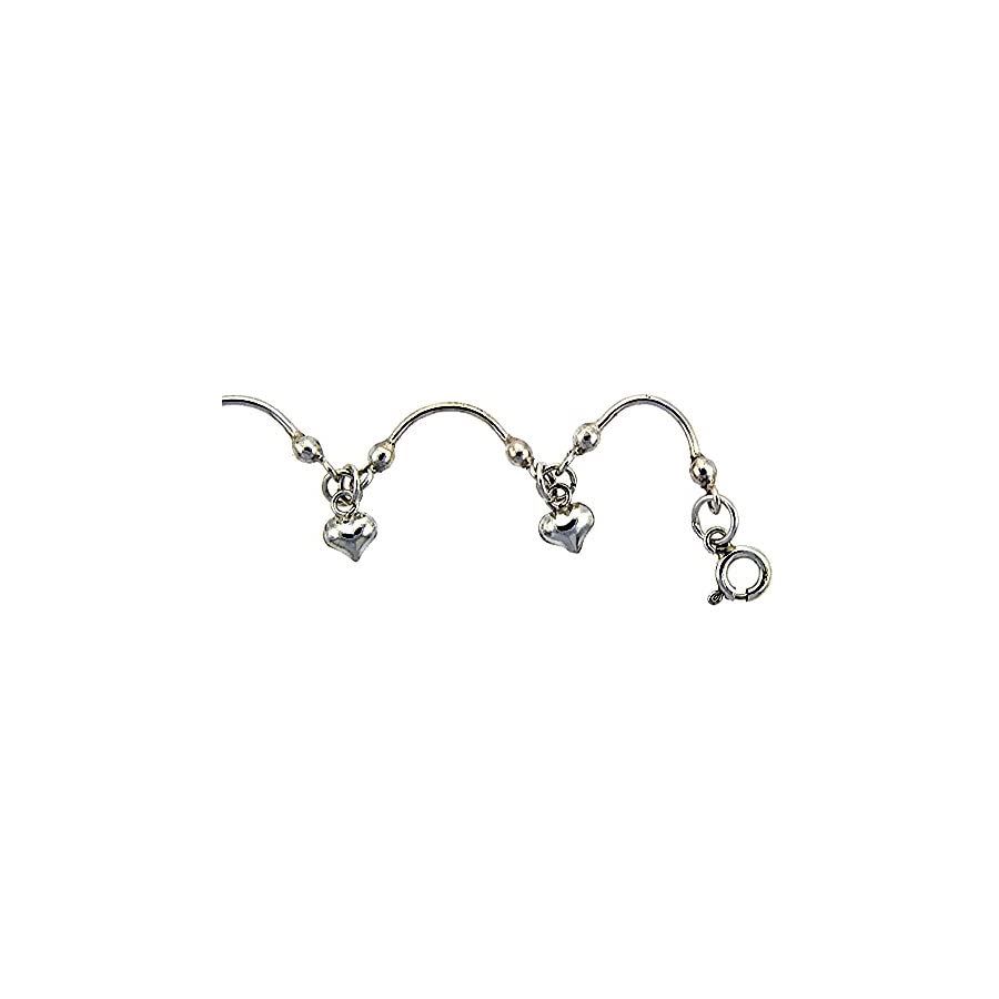 Sterling Silver Anklet with Hearts, fits 9 10 inch ankles