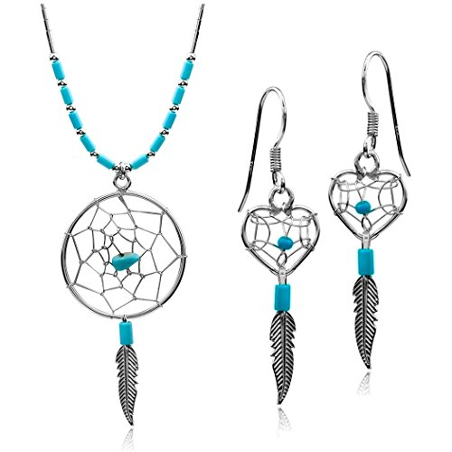 Ian and Valeri Co. Dream Catcher Sterling Silver Turquoise Imitation Heart Earrings Pendant Necklace Set 18