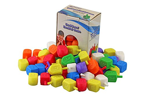 - Judaica Mega Mall Multi Colored Traditional Hanukkah Plastic Dreidels, Medium, 25 Pack (With Draydel Game Instructions)