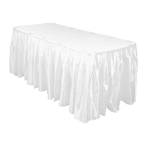 LinenTablecloth 14 ft. Accordion Pleat Satin Table Skirt Whi
