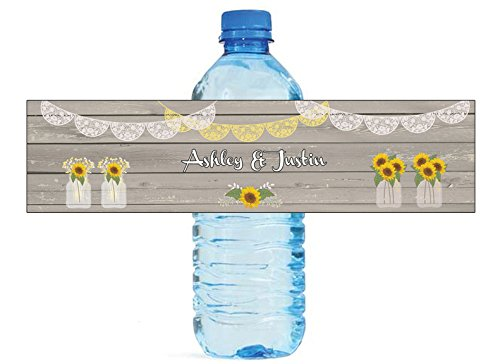 100 Sunflower Vases on Rustic Wood Wedding Anniversary Engagement Party Water Bottle labels Bridal Shower Birthday by DesignThatSign (Image #6)