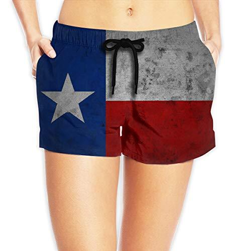 ThreeAlclo Texas Flag Women's Summer Beach Shorts Quick Dry Swim Shorts White ()