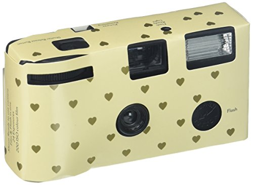Single Use Camera - Ivory and Gold Hearts Design Hearts Disposable Wedding Cameras