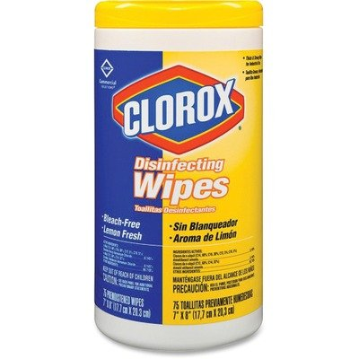 Cloroxamp;reg; - Lemon Scent Disinfecting Wet Wipes, Cloth, 7 x 8, 75/Canister, 6/Carton - Sold As 1 Carton - Bleach-free, premoistened wipes clean and disinfect in one step; kill 99.9% of bacteria, including staph and salmonella.