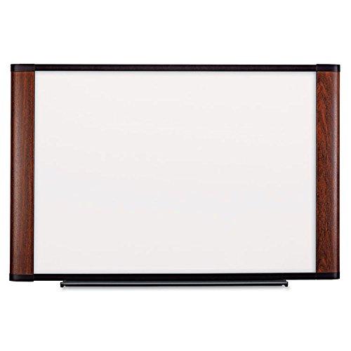 3M - Melamine Dry Erase Board, 72 x 48, Mahogany Frame by 3M