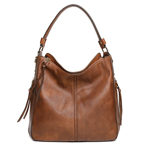 Hobo Style Purses - DDDH New Vintage Hobo Handbags Shoulder Bags Durable Leather Tote Messenger Bags Bucket Bag For Women/Ladies/Girls(Brown)