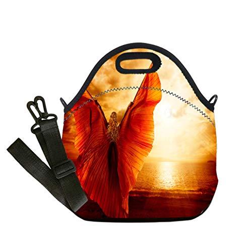 (3D Print Neoprene Reusable Cooler Fashion Lunch Bag Woman Dancing Wings Dress Fashion Art Model Flying on Ocean Sky Sunset custom Stylish Lunch Bag, Multi-use for Men, Women and Kids)