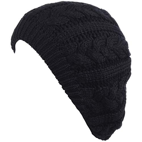BYOS Women's Winter Fleece Lined Urban Boho Slouchy Cable Knit Beret Beanie Hat