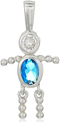 Sterling Silver AAA Cubic Zirconia Simulated Birthstone Babies Boy Charm, December