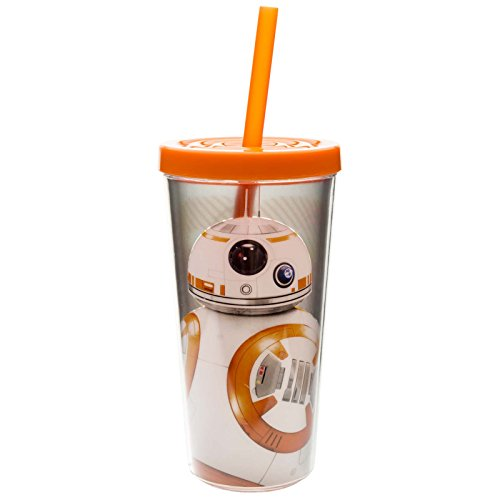 Zak! Designs Insulated Tumbler with Screw-on Lid and Straw featuring BB-8 from Star Wars The Force Awakens Graphics, BPA-free Plastic, 16 oz.
